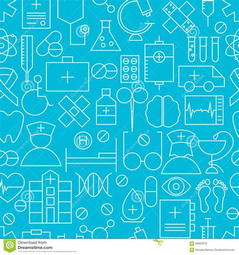 free medical background pattern thin medical line health care blue seamless pattern stock
