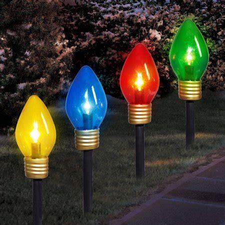 jumbo christmas light time lights jumbo c9 lighted lawn stake 4 set walmart
