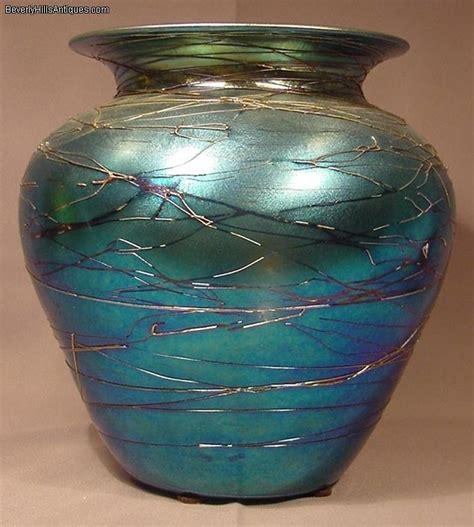 superb durand blue iridescent threaded glass vase for