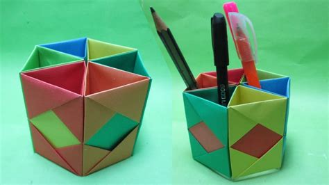 Origami Pencil Holder - how to make hexagonal paper pen pencil holder origami pen