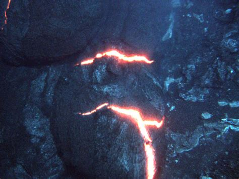 Lava Pillow as you can se this is a picture of pillow lava the bright orange glow you see is lava inside