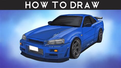 nissan skyline drawing step by step how to draw nissan skyline r34 gtr step by step youtube