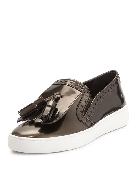 styling loafers lyst michael kors vesey brushed metallic loafer style