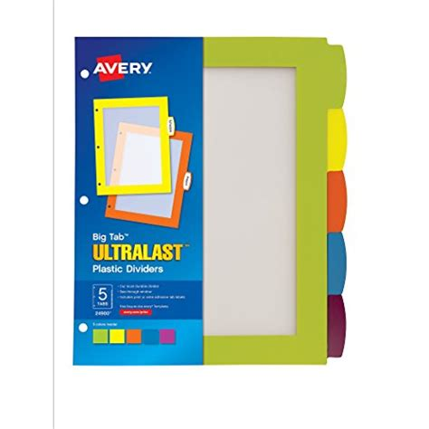 avery big tab ultralast plastic dividers 5 tab set 1 set