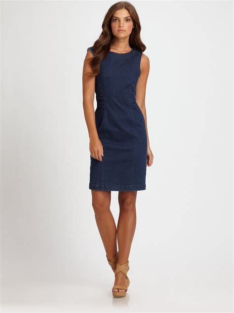 Sleeveless Dress Denim lyst weekend by maxmara sleeveless denim dress in blue