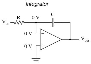 rc integrator circuit using operational lifier differentiator and integrator circuits operational lifiers electronics textbook