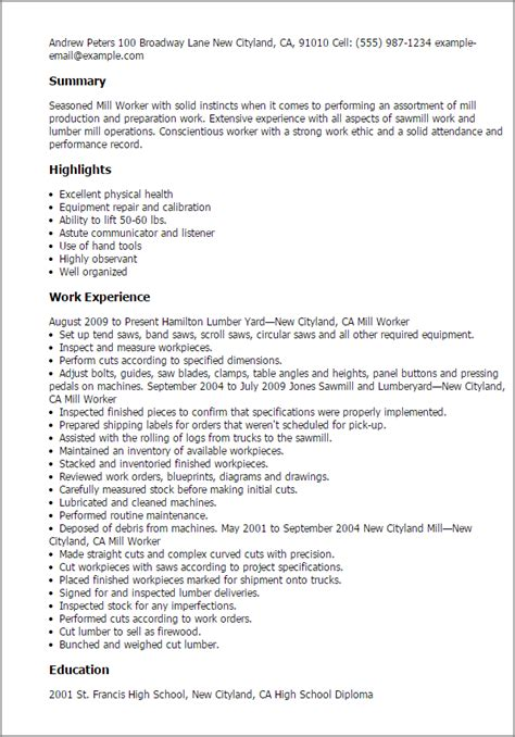 Mill Worker Sle Resume by Professional Mill Worker Templates To Showcase Your Talent Myperfectresume