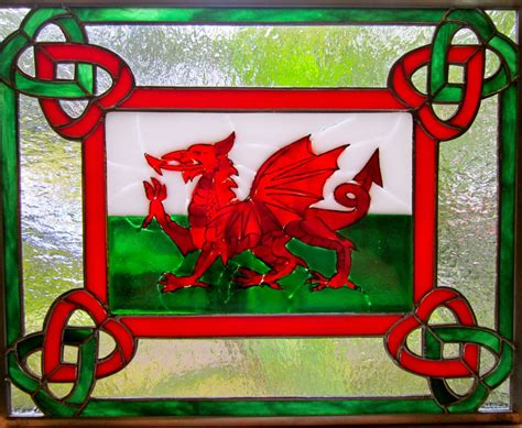 Hand Crafted Fused Glass And Stained Glass Panel  Cymru Am