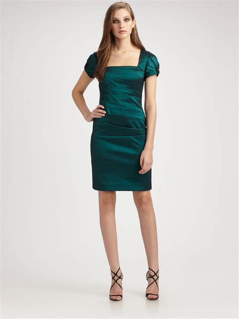 green beaded dress badgley mischka beaded cap sleeve dress in green black