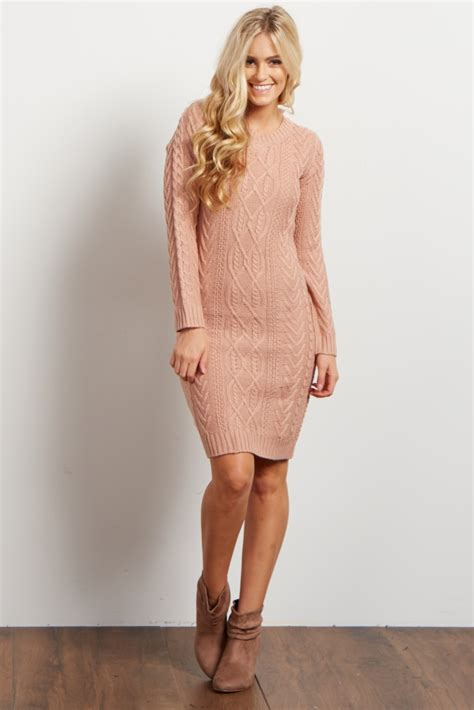 Sleeve Cable Knit Dress pink cable knit sleeve maternity sweater dress