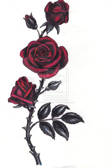 gothic rose tattoos by dragonwings13 on deviantart