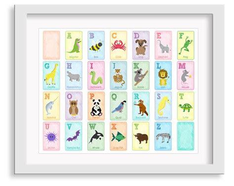 Nursery Art Decor Alphabet Poster Animal Alphabet Alphabet Nursery Decor