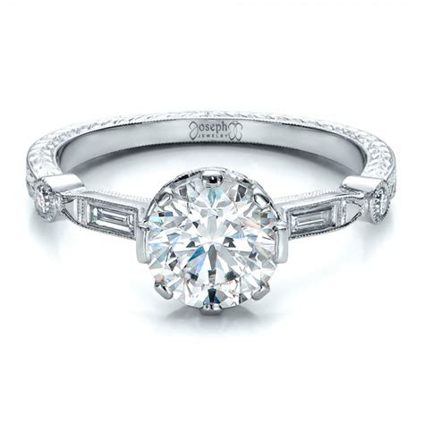 engraved engagement rings custom and engraved engagement ring 100852