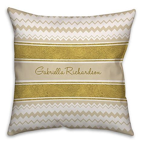 pacific coast pillows bed bath beyond chevron and ribbon square throw pillow in gold white buybuy baby