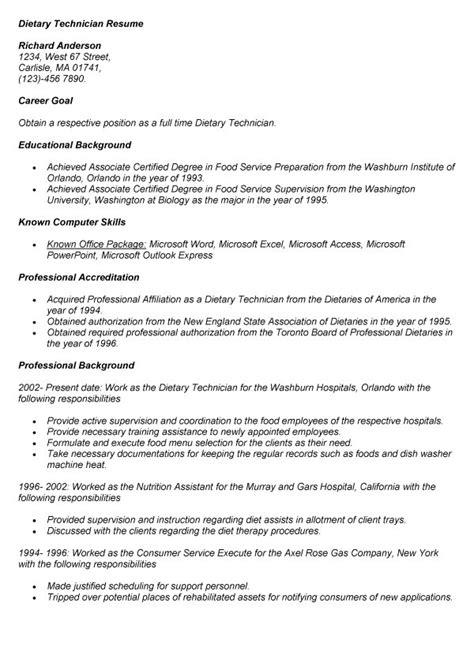 dietary aide job description for resume dietary technician