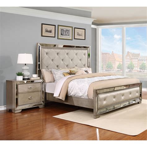 tufted bedroom sets madi panel bedroom set nailhead button tufted silver