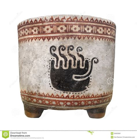Ancient Mayan Clay Cup Isolated. Stock Image   Image: 35603081