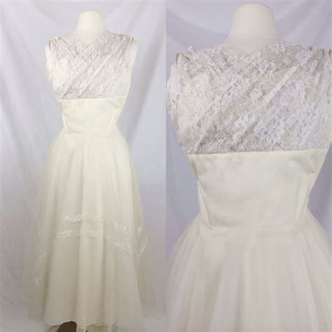 1950s wedding dress 1950s lace and chiffon wedding gown vintage 1950s dress 50s white lace chiffon gown tea