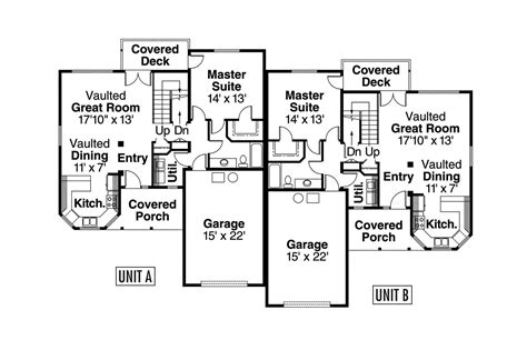 up down duplex floor plans country house plans kirkwood 60 013 associated designs