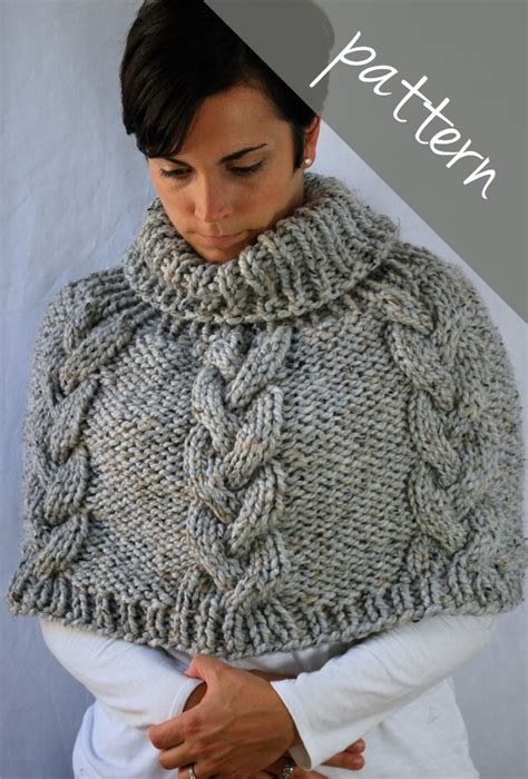 poncho knitting pattern chunky knitting pattern braided cable poncho cape chunky cape
