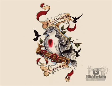 New School Dove Tattoo | bleeding heart dove new school tattoo design by