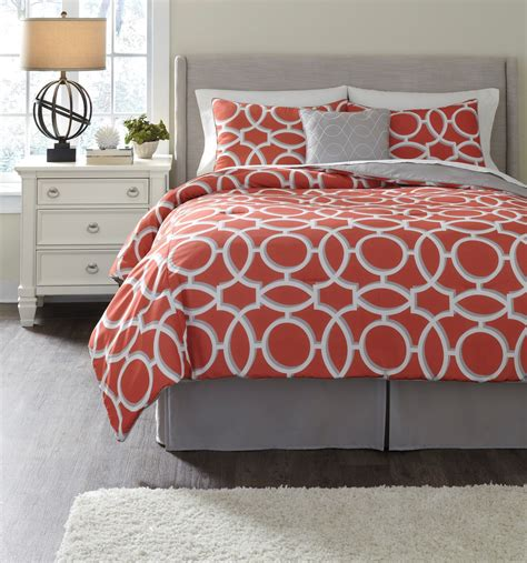 coral bedding sets clairette coral queen size bedding set q166005q ashley