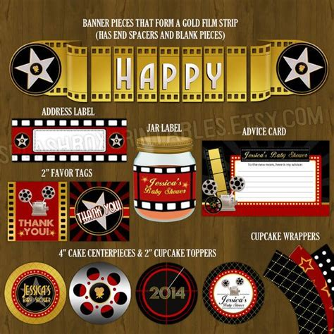 printable hollywood decorations hollywood red carpet printable baby shower package a