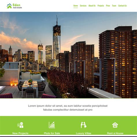 Eden Real Estate Free Responsive Website Template Real Estate Responsive Website Templates Free