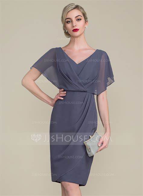 V Neck Chiffon Dress sheath column v neck knee length chiffon cocktail dress