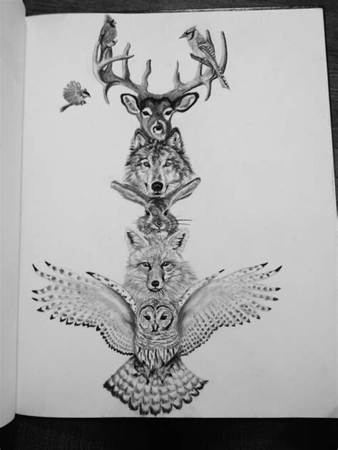 spirit animal tattoos animal totem pole drawing want this as sleeve