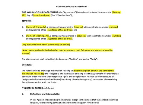 nda sle template 28 images non disclosure agreement