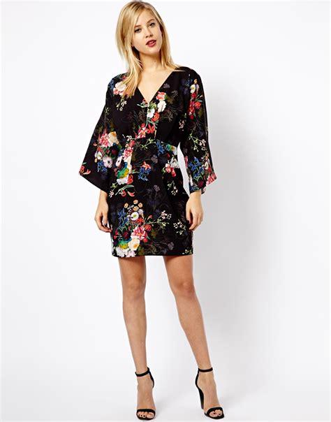Dress Kimono lyst asos floral print kimono dress in black