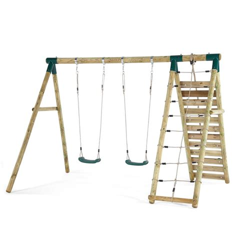 wooden slide and swing set uk plum uakari wooden swing set all round fun