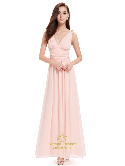 Light Pink Bridesmaid Dresses by Light Pink V Neck Chiffon Bridesmaid Dress With