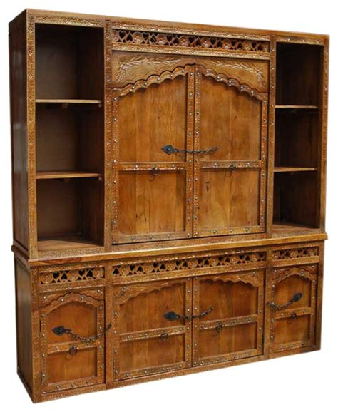 Solid Wood Hand Made Hand Carved Buffet Large Hutch Solid Wood Buffet And Hutch
