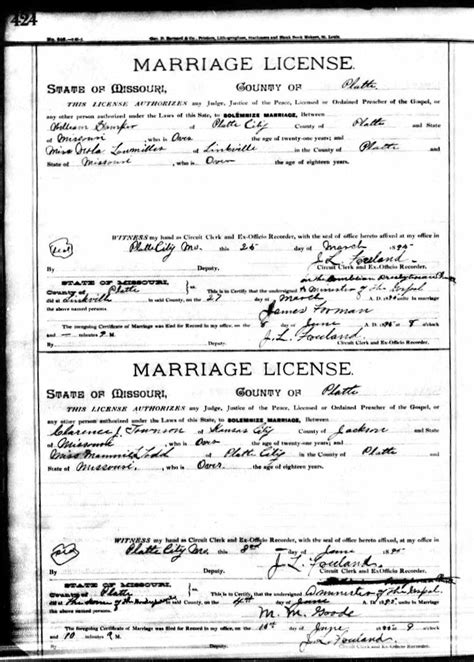 County Missouri Marriage Records Clarence J Townsend