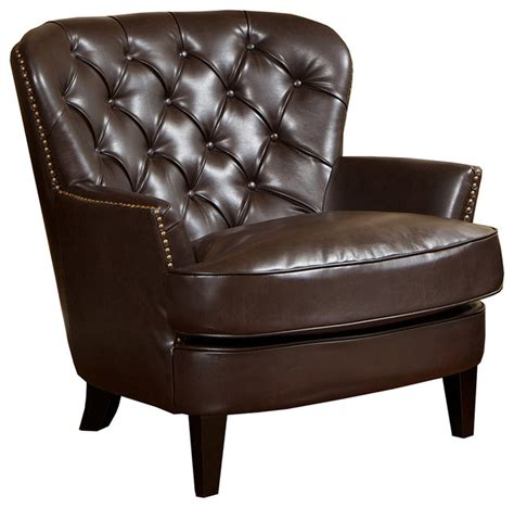 Brown Leather Accent Chair Alfred Brown Leather Armchair Traditional Armchairs And Accent Chairs By Great Deal Furniture