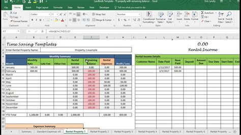 Rental Property Spreadsheet Template Excel Landlord Template Demo Track Rental Property In Excel Youtube