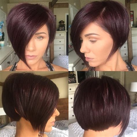 hairstyle and bob and fringed women s burgundy asymmetrical pixie bob with side swept