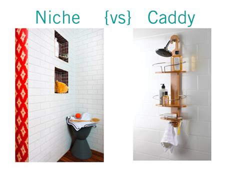 Kitchen Cabinet Remodeling bathroom face off recessed shower niche vs shower caddy