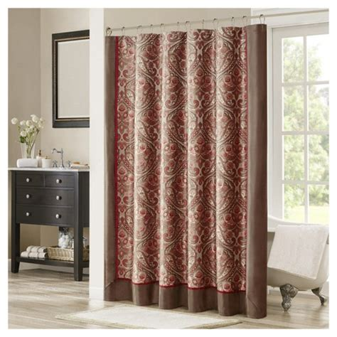 red brown curtains jacquard shower curtain brown red target