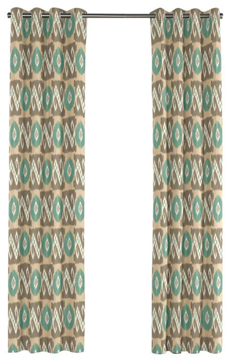 teal and tan curtains tan and teal handwoven ikat grommet curtain
