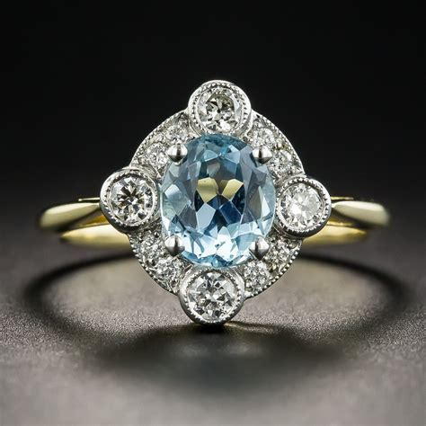 Aquamarine and Diamond Platinum and18K Vintage Style Ring