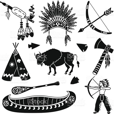 native american icons stock vector art 165808153 istock