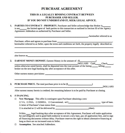 14 Sle Real Estate Purchase Agreement Templates Sle Templates Real Estate Purchase Contract Template