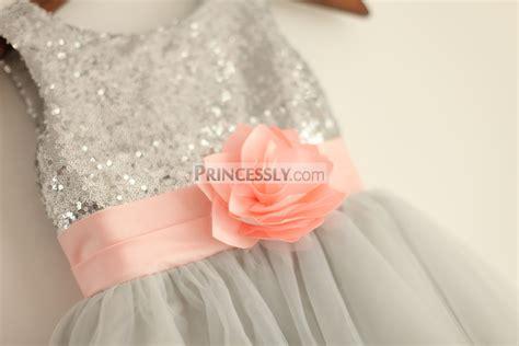 Dress Anak Pink Flower Belt Import silver grey sequin tulle flower dress with blush pink belt
