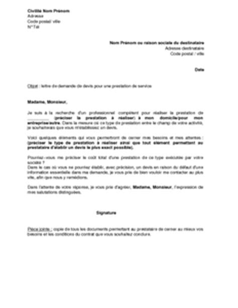 Exemple De Lettre De Demande D Un Service Lettre De Demande De Devis Pour Une Prestation De Service Mod 232 Le De Lettre Gratuit Exemple De