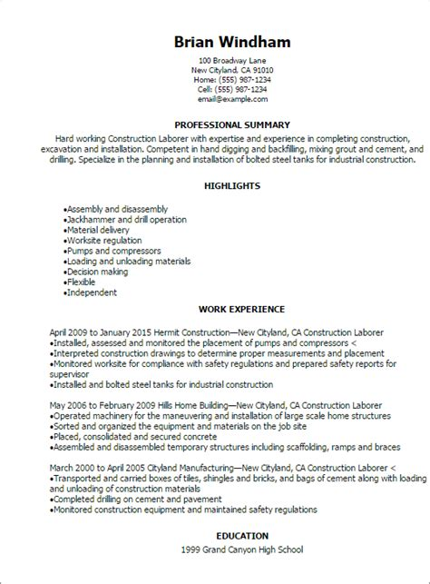 resume template for laborer professional construction laborer resume templates to