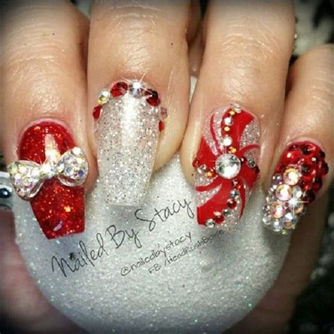 christmas themed nails how to try the bedazzled red gold and silver themed