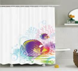 Shower Curtains With Fish Theme Fish Shower Curtain Sea Animals Themed Bathroom Decor